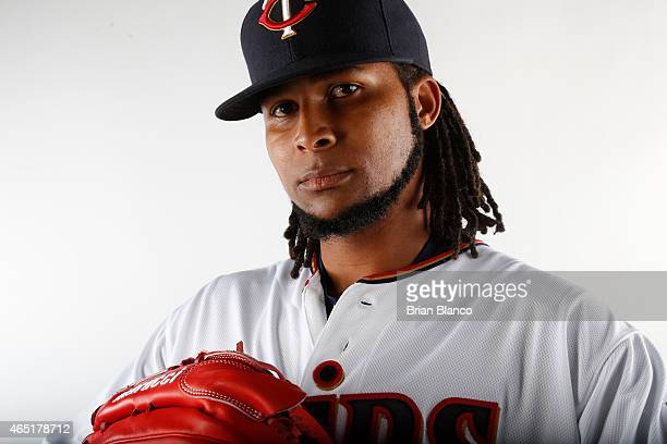 Ervin Santana of the Minnesota Twins poses for a photo on March 3 2015 at Hammond Stadium in Fort Myers Florida