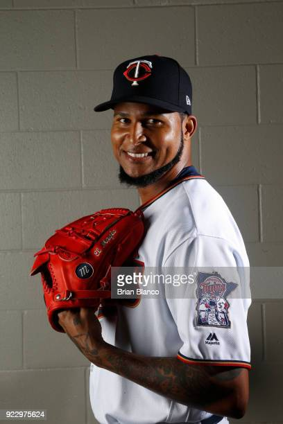 Ervin Santana of the Minnesota Twins poses for a portrait on February 21 2018 at Hammond Field in Ft Myers Florida