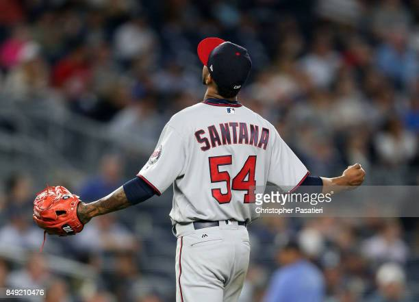 Ervin Santana of the Minnesota Twins reacts after being taken out of the game in the bottom of the sixth inning against the New York Yankees on...