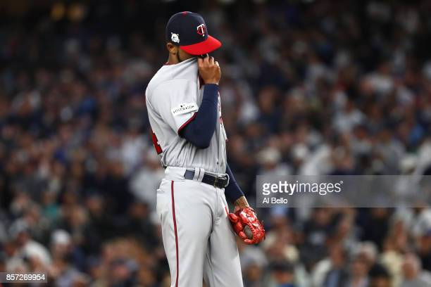 Ervin Santana of the Minnesota Twins reacts after giving up a three run home run to Didi Gregorius of the New York Yankees during the first inning in...