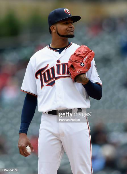 Ervin Santana of the Minnesota Twins reacts during the third inning of game one of a doubleheader against the Colorado Rockies on May 18 2017 at...
