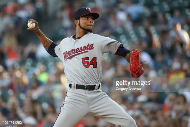 Ervin Santana of the Minnesota Twins throws a first inning pitch while playing the Detroit Tigers at Comerica Park on August 10 2018 in Detroit...