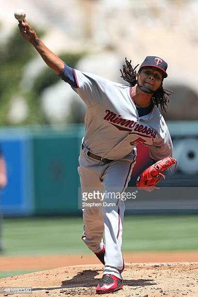 Ervin Santana of the Minnesota Twins throws a pitch against the Los Angeles Angels of Anaheim at Angel Stadium of Anaheim on July 23 2015 in Anaheim...