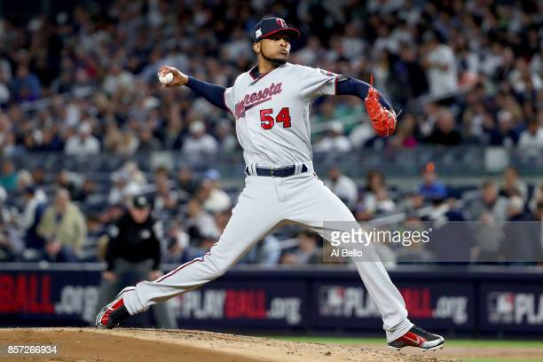 Ervin Santana of the Minnesota Twins throws a pitch against the New York Yankees during the first inning in the American League Wild Card Game at...