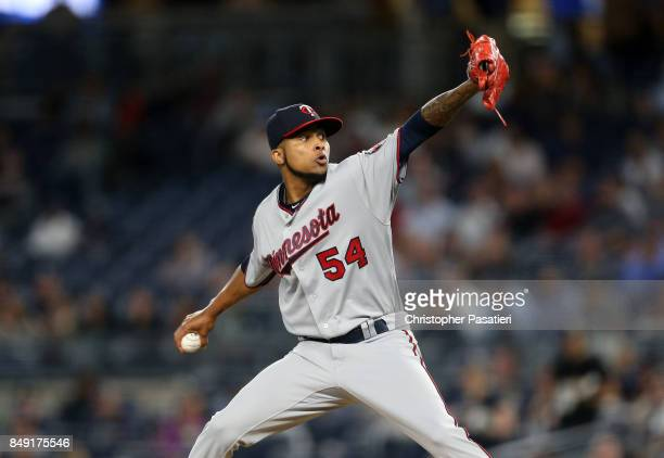 Ervin Santana of the Minnesota Twins throws a pitch during the bottom of the first inning against the New York Yankees on September 18 2017 at Yankee...