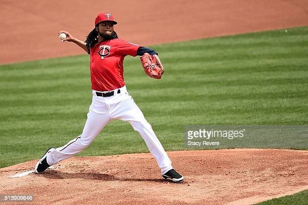 Ervin Santana of the Minnesota Twins throws a pitch during the first inning of a spring training game against the Baltimore Orioles at Hammond...