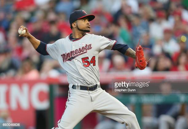 Ervin Santana of the Minnesota Twins throws a pitch in the first inning against the Los Angeles Angels of Anaheim at Angel Stadium of Anaheim on June...
