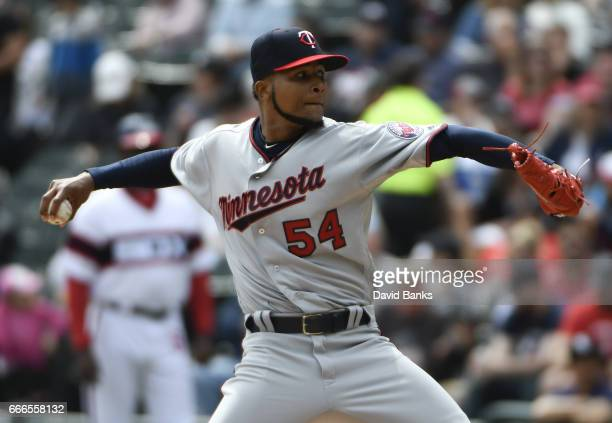 Ervin Santana of the Minnesota Twins throws against the Chicago White Sox during the first inning on April 9 2017 at Guaranteed Rate Field in Chicago...