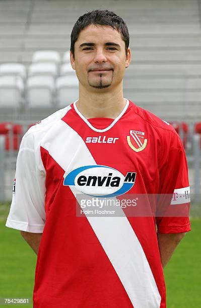 Ervin Skela poses during the Bundesliga 2nd Team Presentation of FC Energie Cottbus on July 13 2007 in Jena Germany