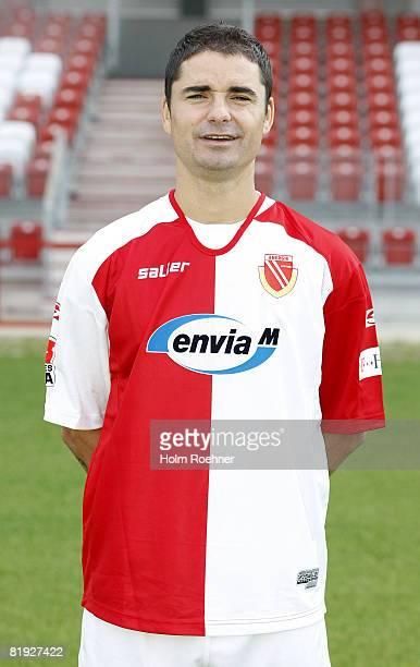 Ervin Skela poses during the Bundesliga first Team Presentation of FC Energie Cottbus on July 14 in Cottbus Germany