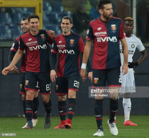 Ervin Zukanovic of Genoa CFC celebrates with his teammates after scoring the opening goal during the serie A match between Genoa CFC and FC...