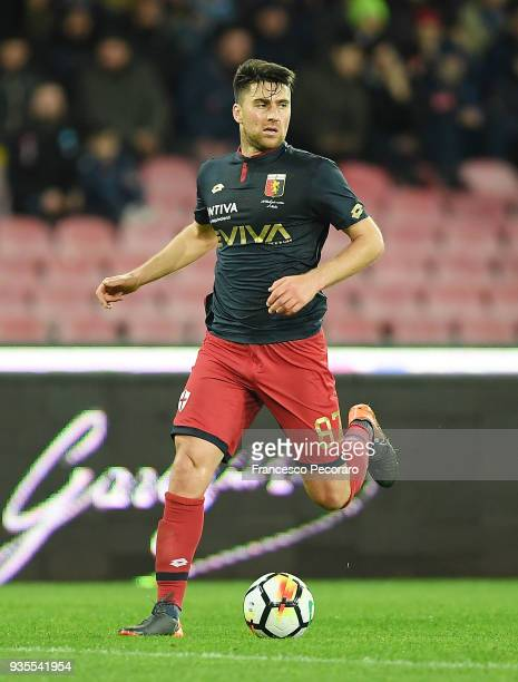 Ervin Zukanovic of Genoa CFC drives the ball during the serie A match between SSC Napoli v Genoa CFC at Stadio San Paolo on March 18 2018 in Naples...