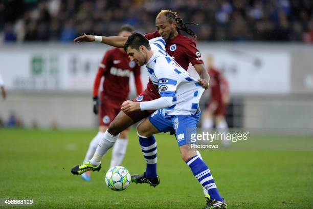 Ervin Zukanovic of KAA Gent battles for the ball with Mohamed Tchite of Club Brugge during the Jupiler League match between KAA Gent and Club Brugge...