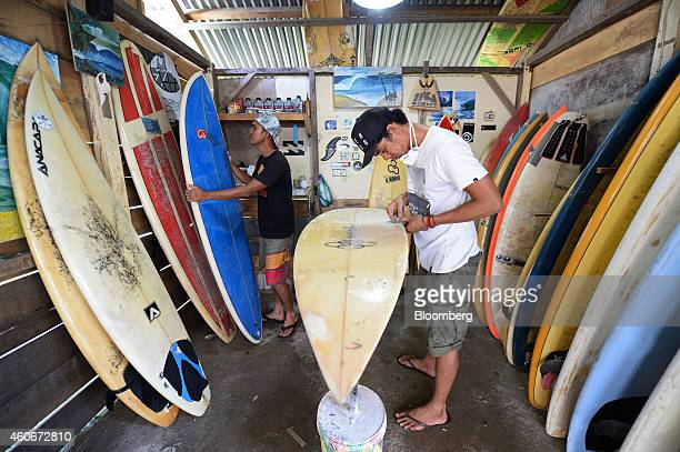 Erwan Jamaluddin left and his brother Ichsan Jamaluddin work at their surf board repair and rental shop in Lampuuk Aceh province Indonesia on Tuesday...
