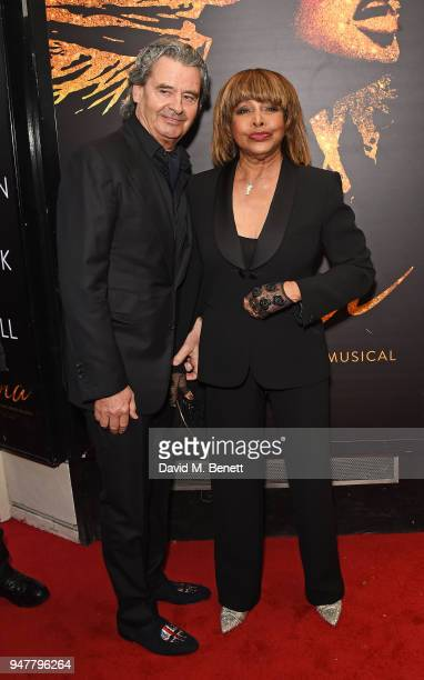 "Erwin Bach and Tina Turner arrive at the press night performance of ""Tina: The Tina Turner Musical"" at the Aldwych Theatre on April 17, 2018 in..."