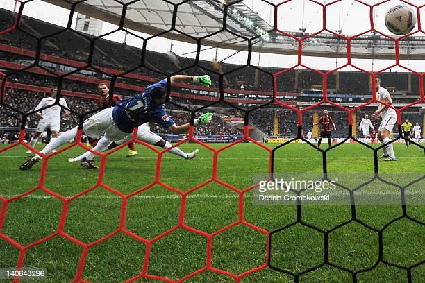 Erwin Hoffer of Frankfurt scores his team's opening goal during the Second Bundesliga match between Eintracht Frankfurt and Energie Cottbus at...
