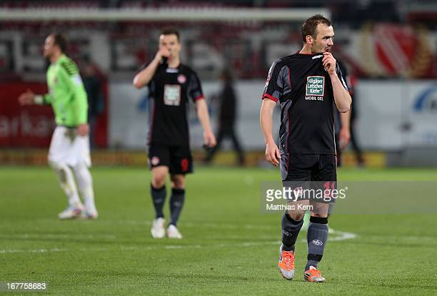 Erwin Hoffer of Kaiserslautern and his team mates show their frustration after loosing the Second Bundesliga match between FC Energie Cottbus and...