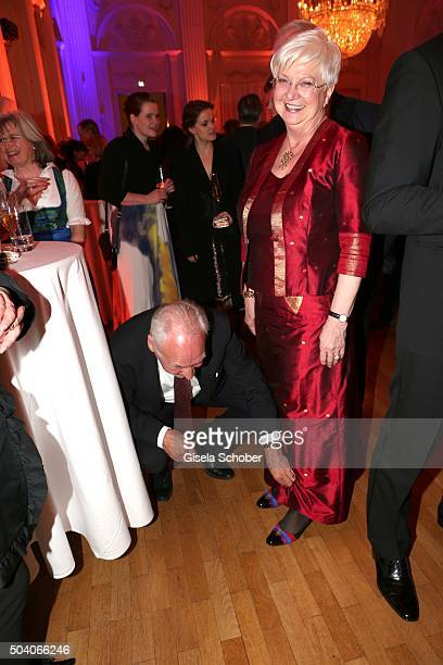 Erwin Huber and Gerda Hasselfeldt during the new year reception of the Bavarian state government at Residenz on January 8 2016 in Munich Germany