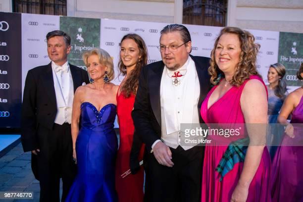 Erwin Klissenbauer, Elisabeth Guertler, Michael Schade with Dee Schade-McKee and entourage during the Fete Imperiale 2018 on June 29, 2018 in Vienna,...