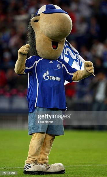 Erwin mascot of Schalke celebrates prior to the THome Cup third place match between FC Schalke 04 and FC Bayern Muenchen at Veltins Arena on July 19...