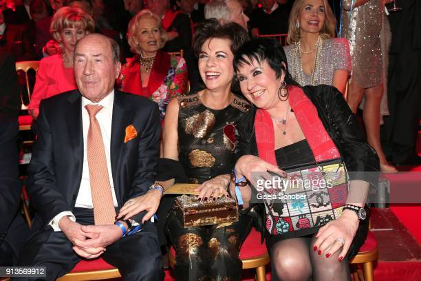 Erwin Mueller and his wife Anita Mueller and Uschi Ackermann during Michael Kaefer's 60th birthday celebration at Postpalast on February 2 2018 in...