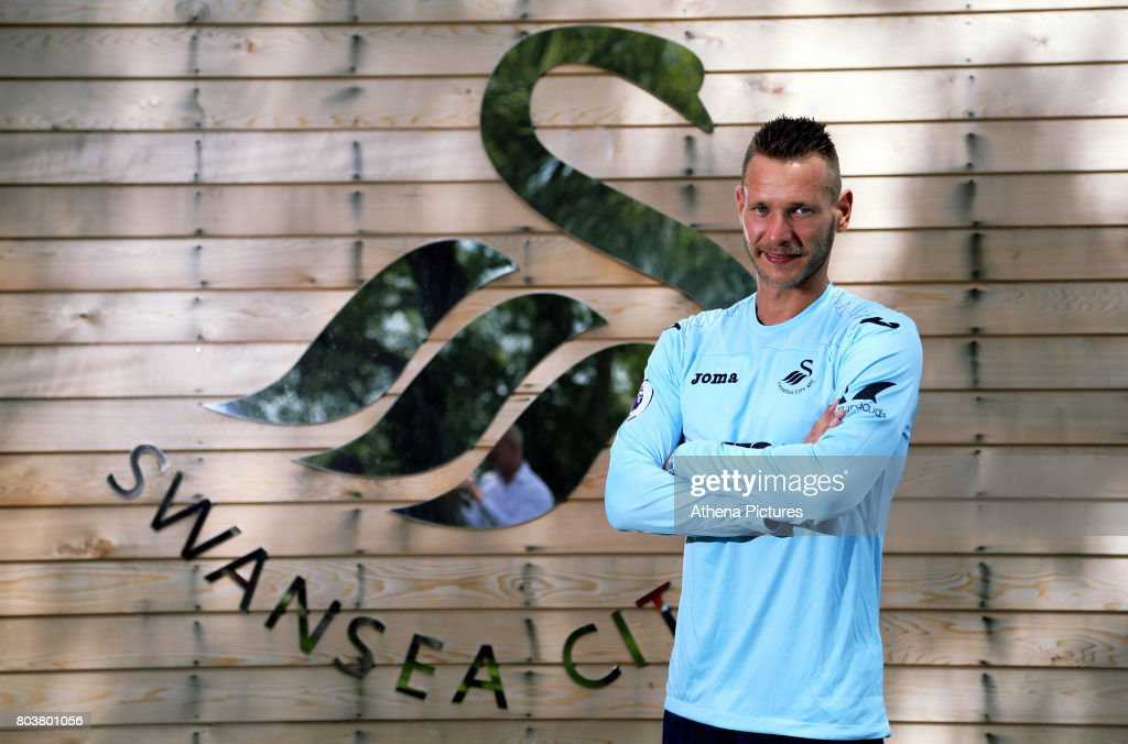 Erwin Mulder holds poses for a picture at the Swansea City Training at The Fairwood Training Ground on June 19, 2017 in Swansea, Wales.