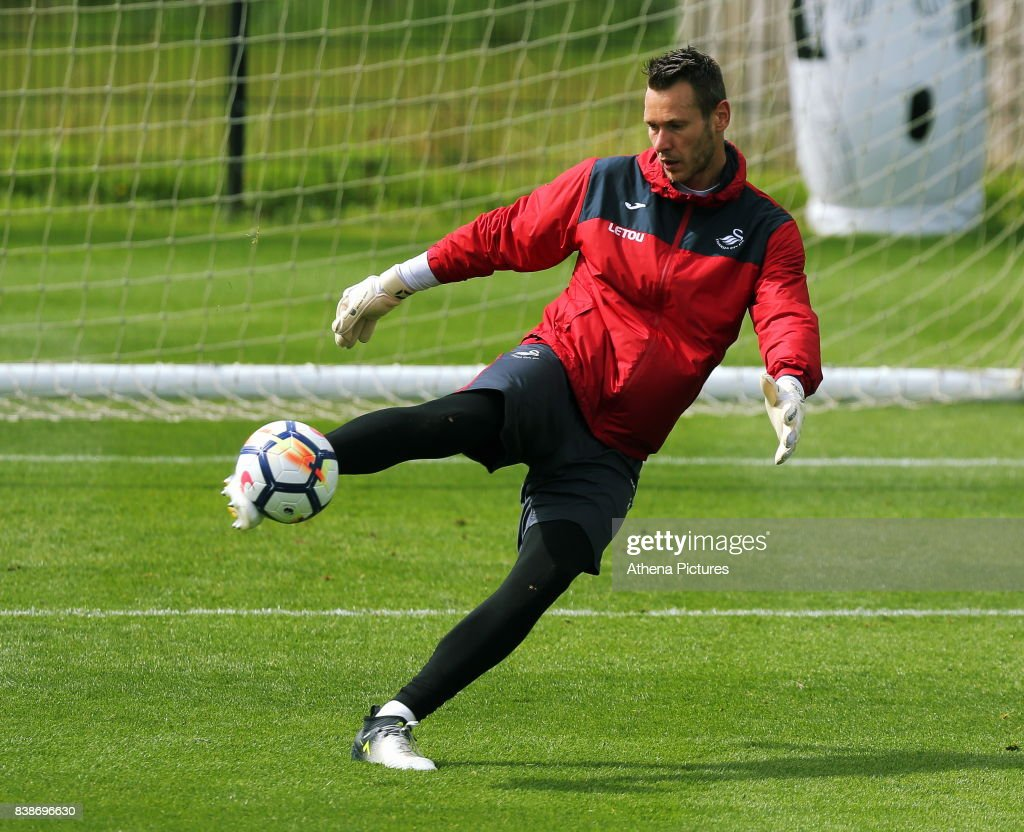 Erwin Mulder in action during the Swansea City Training and Press Conference at The Fairwood Training Ground on August 24, 2017 in Swansea, Wales.