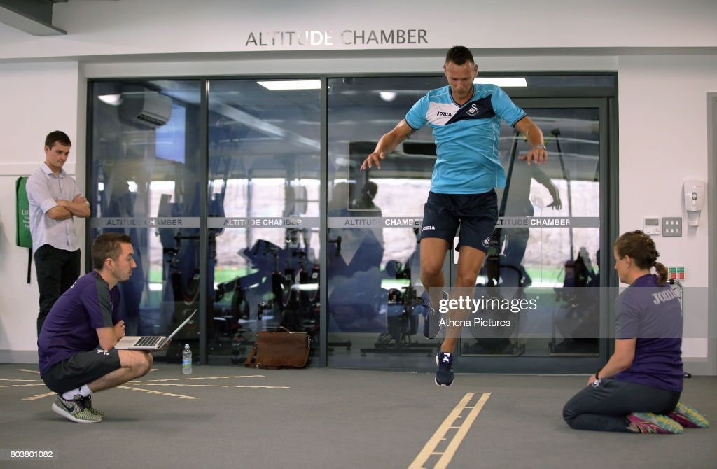 Erwin Mulder is being tested at the Swansea City Training at The Fairwood Training Ground on June 19, 2017 in Swansea, Wales.