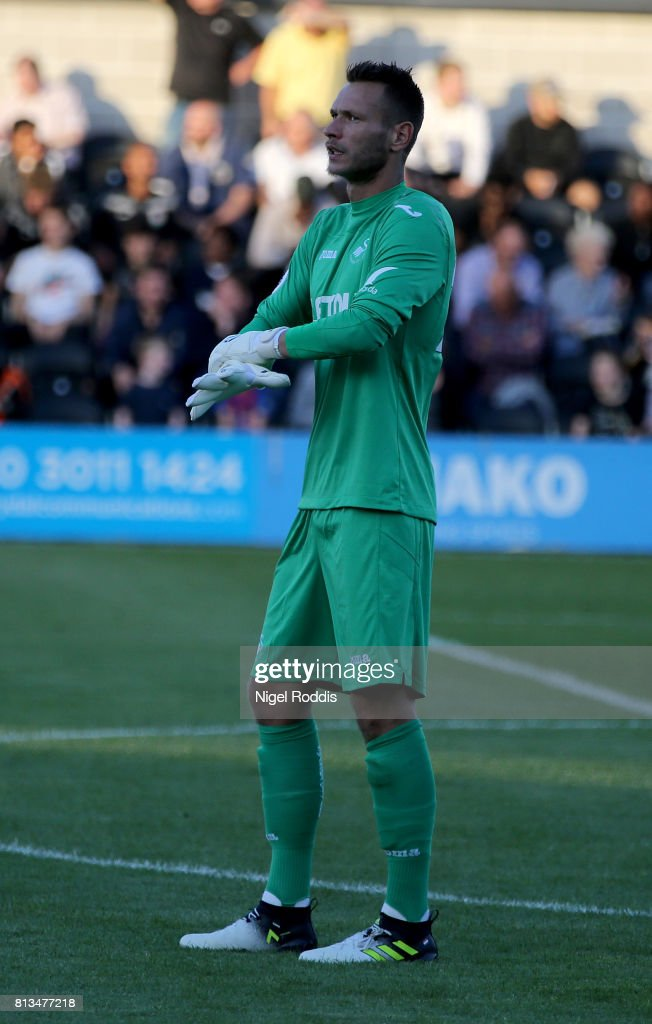 Erwin Mulder of Swansea City during the pre season friendly match between Barnet and Swansea City at The Hive on July 12, 2017 in Barnet, England.