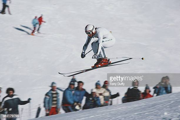Erwin Resch of Austria skiing in the Men's Downhill event at the International Ski Federation FIS Alpine Skiing World Cup on 6 December 1981 in Val...