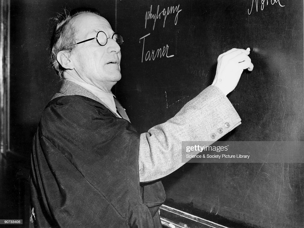 Erwin Schrodinger, Austrian physicist, lecturing at the blackboard, c 1950. : ニュース写真