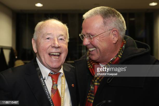 Erwin Stein and Peter Reichel attend the Club Of Former National Players Meeting at Commerzbank Arena on November 19, 2019 in Frankfurt am Main,...