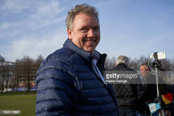 """Erwin Versteeg, leader of the party """"Wij Zijn Nederland"""" poses for the camera at the demonstration held on February 20, 2021 in The Hague,..."""