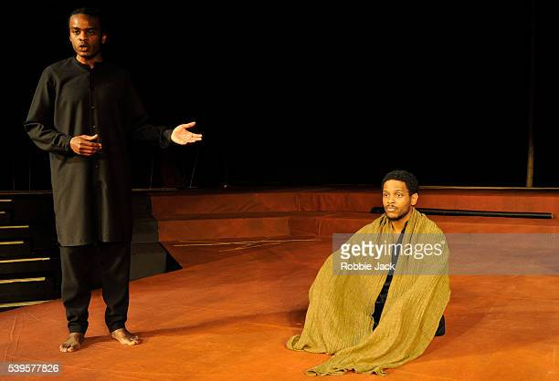 Ery Nzaramba and Jared McNeill in Theatre des Bouffes du Nord's production of Battlefield wich is based on the Mahabharata and the play by Jean...