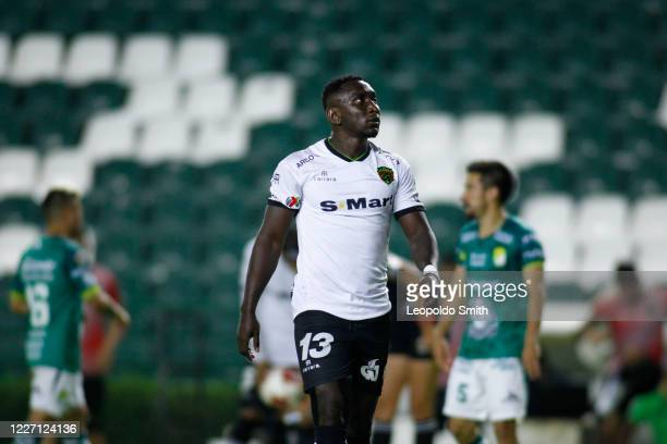 Eryc Castillo of FC Juarez reacts during a match between Leon and FC Juarez as part of the friendly tournament Copa Telcel at Leon Stadium on July 14...