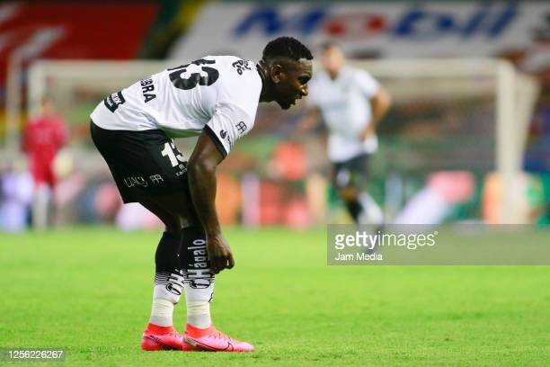 Eryc Castillo of Juarez reacts during a match between Leon and FC Juarez as part of the friendly tournament Copa Telcel at Leon Stadium on July 14...