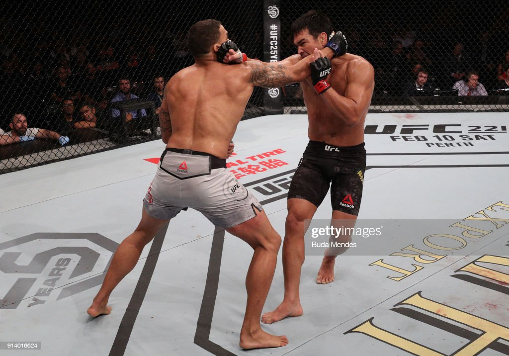 Eryk Anders punches Lyoto Machida of Brazil in their middleweight bout during the UFC Fight Night event at Mangueirinho Arena on February 03, 2018 in Belem, Brazil.