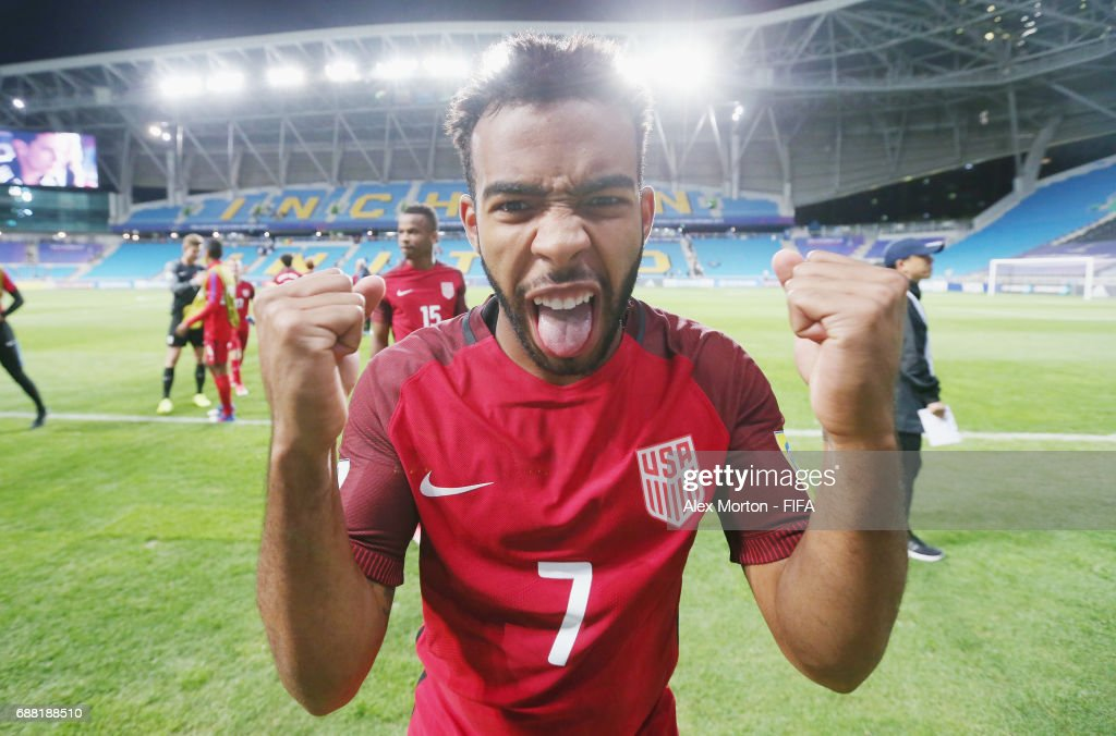 Eryk Williamson of USA celebrates after the FIFA U-20 World Cup Korea Republic 2017 group F match between Senegal and USA at Incheon Munhak Stadium on May 25, 2017 in Incheon, South Korea.