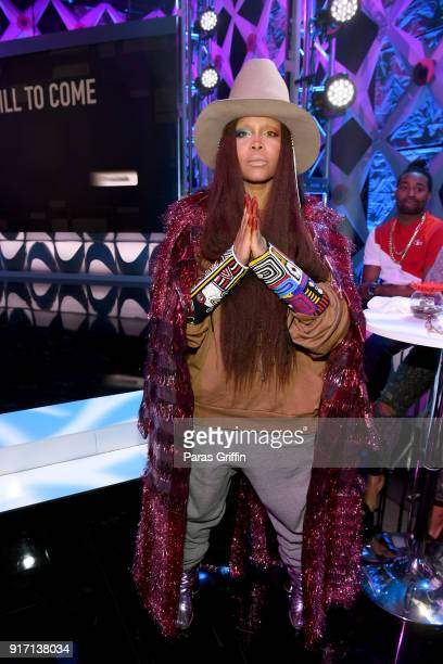 Erykah Badu attends BET's Social Awards 2018 at Tyler Perry Studio on February 11 2018 in Atlanta Georgia