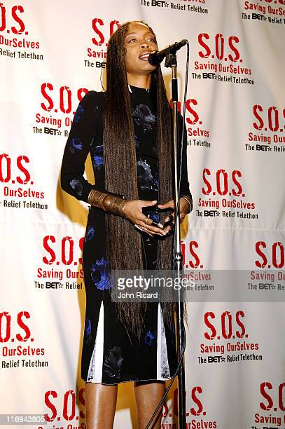 Erykah Badu during SOS The BET Telethon Relief Press Room at CBS Studios in New York New York United States