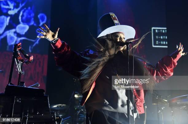 Erykah Badu performs at San Francisco Armory on February 14 2018 in San Francisco California