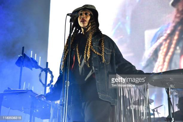 Erykah Badu performs during the Black on Both Sides 20th Anniversary concert at The Greek Theatre on October 25 2019 in Berkeley California