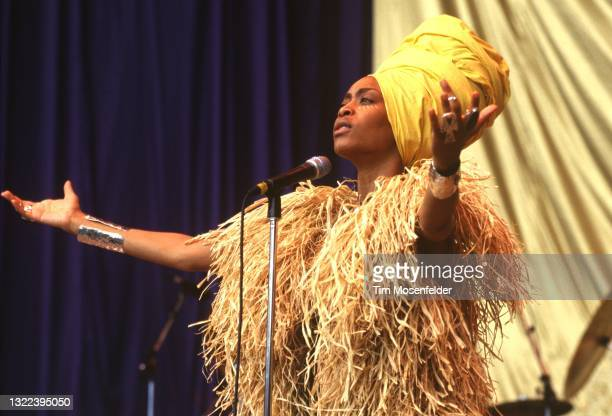 Erykah Badu performs during the Lilith Fair at Shoreline Amphitheatre on June 24, 1998 in Mountain View, California.