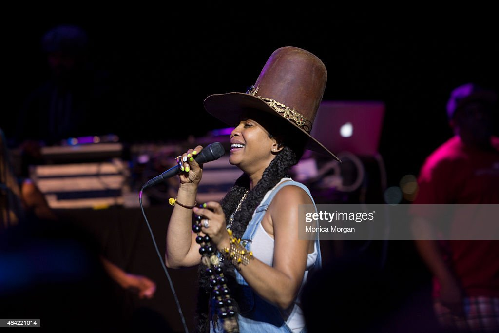 Erykah Badu performs on stage at Chene Park Amphitheater on August 15, 2015 in Detroit, Michigan.