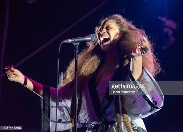 Erykah Badu performs onstage at the 2018 Demon Dayz Festival at Pico Rivera Sports Arena on October 20 2018 in Pico Rivera California