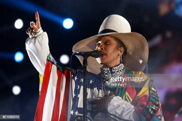 Erykah Badu performs onstage during day 2 of FYF Fest 2017 at Exposition Park on July 22 2017 in Los Angeles California