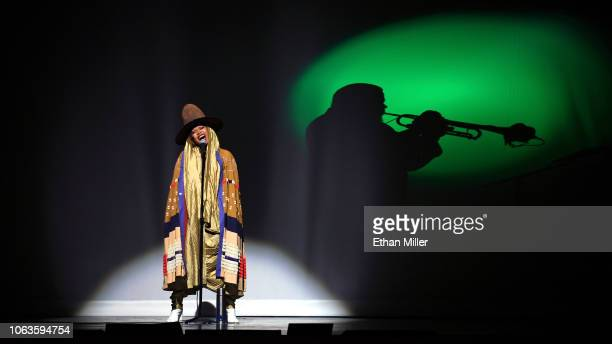 Erykah Badu performs onstage during the 2018 Soul Train Awards presented by BET at the Orleans Arena on November 17 2018 in Las Vegas Nevada