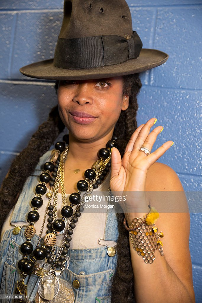 Erykah Badu posing backstage at Chene Park Amphitheater on August 15, 2015 in Detroit, Michigan.