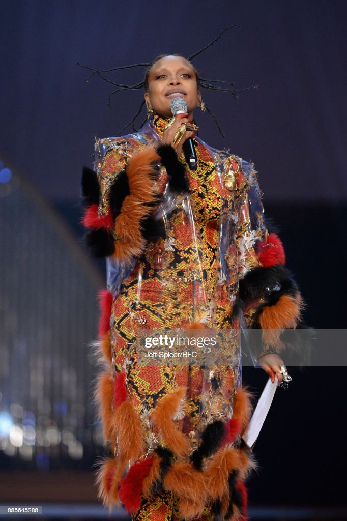 Erykah Badu presents the award for Model of the Year on stage at The Fashion Awards 2017 in partnership with Swarovski at Royal Albert Hall on December 4, 2017 in London, England.