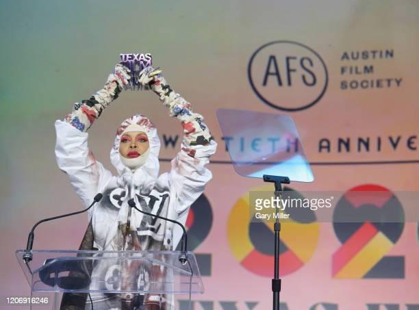 Erykah Badu receives the Soundtrack Award during the Austin Film Society's 20th annual Texas Film Awards at Creative Media Center at Austin Studios...